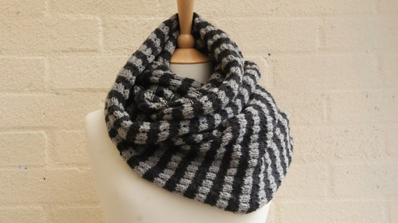 Knitted stripped shades of grey infinity scarf, cowl