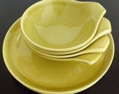 Russel Wright Mid Century American Modern Chartreuse Dinner Plates & Bowls  - 8 PCS