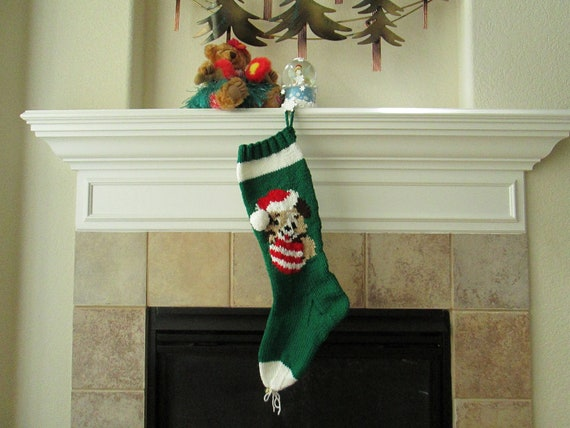 Hand Knitted Puppy Love Christmas Stocking