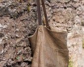 Women's linen tote bag with single dark brown leather strap