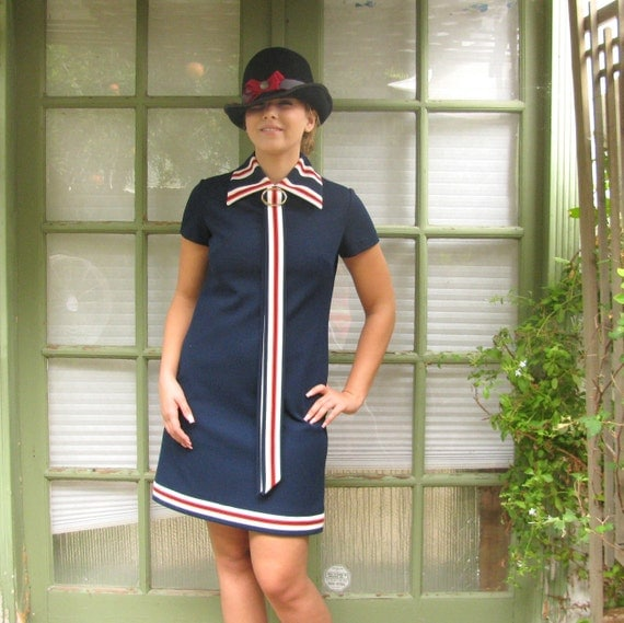 Vintage 1960's 70's Navy A Line Mod Preppy  Mini Dress Nautical