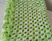 "Crochet Baby mini Blanket, Afghan,stroller / travel  size in Soft  green and white 21"" x 21"""