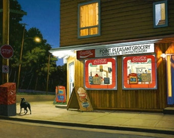 "Point Pleasant Grocery (Framed) 13 1/2"" x 21 1/4"" by Paul Hannon (Image area 7 1/2"" x 15"")"