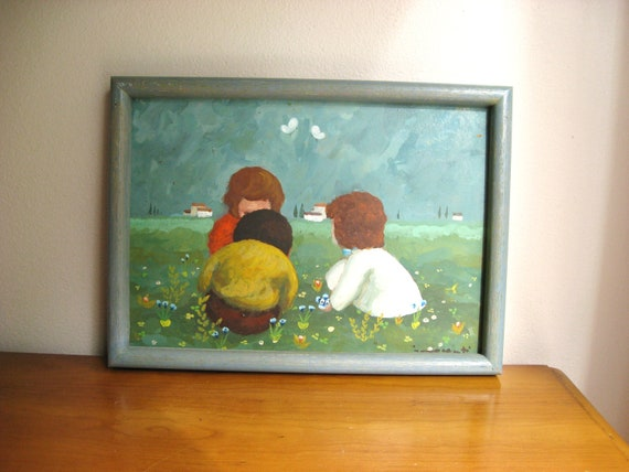 Vintage Little Girls Playing in a Flower Field Painting, Colorful Floral Girl Picture