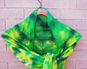 "Green and Yellow Tie Dye Chiffon Silk Scarf 22""x90"""