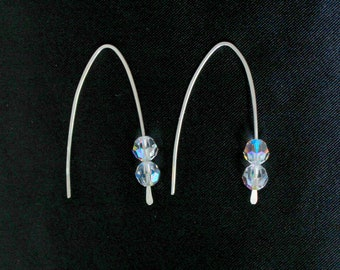 Sterling Silver Ear Rings Swarovski White Crystals Metal Wire Jewelry Handmade Contemporary Modern Luxe Style