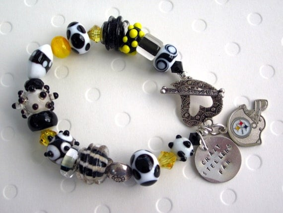 Pittsburgh Steelers Lampwork Glass Beads Sterling Silver Heart Clasp Hand Stamped Charm Bracelet