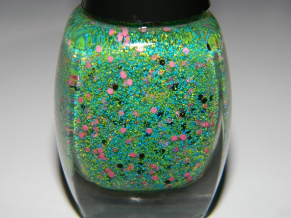 BeTrixed - Nail Polish/Full Size: Matte neon yellow, neon blue, barbie pink & black glitter-Megapixels Collection-.5oz