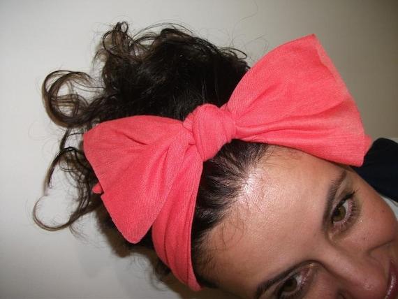 Coral Turband Headband Bow Turban Wide Hippie Boho Headband Twist Stretchy Hair Bands Chic Yoga Headband Hair Wrap Lola Hair