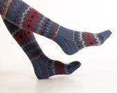 "SOCKS "" Blue Ocean Jazz"" Hand knitted long blue ornamented socks made from natural wool yarn."