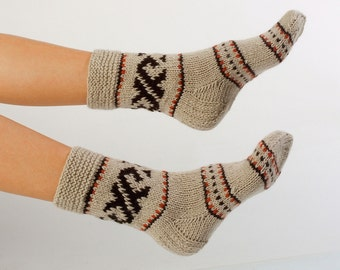"WOMAN SOCKS ""Cozy Chillin"".  Hand knitted from natural grey sheep wool yarn."