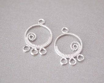 1 Pair, Chandelier Earring Connector, Twisted Spiral, 3-Loop, Sterling Silver