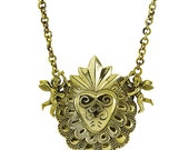 Brass Mexican Sacred Heart & Cupid Necklace