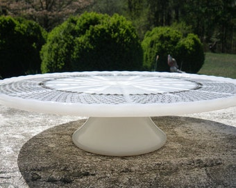 Vintage milk glass wedding cake or cupcake stand -  - pedestal