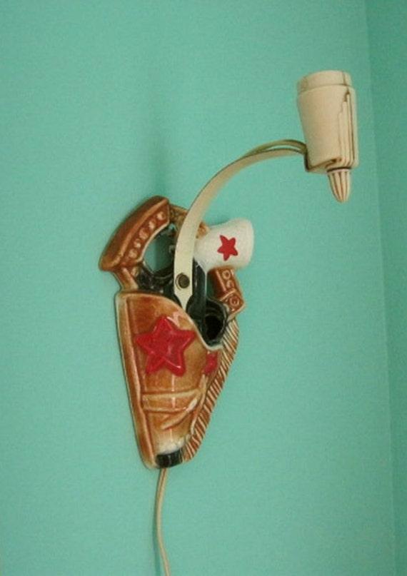 Vintage Ceramic Cowboy Gun and Holster Child's Wall Lamp