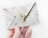 Credit card holder fabric envelope - business card holder card case - little gift earthy grey pink blue neutral soft polka dot lovely gift