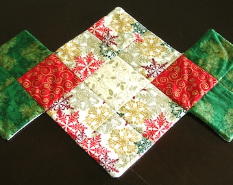 Quilted Table Runner or Placemat - Christmas Red Green Gold