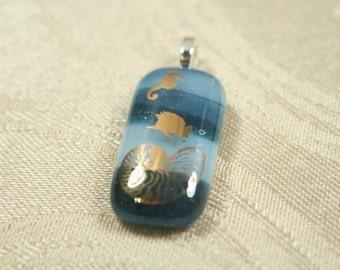 Handcrafted,  Fused Glass Pendant,  Sea life, Slate Gray, Gray, p109