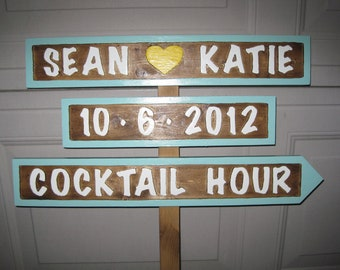 Wedding Directiona Sign - Wedding Signs (3) - Personalized Wedding Signs -Name, Date,  Wedding, Reception and Parking - Routed