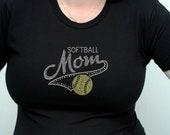 SOFTBALL MOM tshirt. Rhinestone t-shirt for sport fan moms. Woman Sizes S-L
