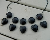SALE: Black Heart and circle Gem bib statement necklace