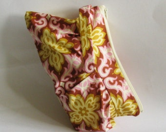 Women's Wristlet, Pleated Wristlet, Womens Pink and Yellow Pleated Wristlet