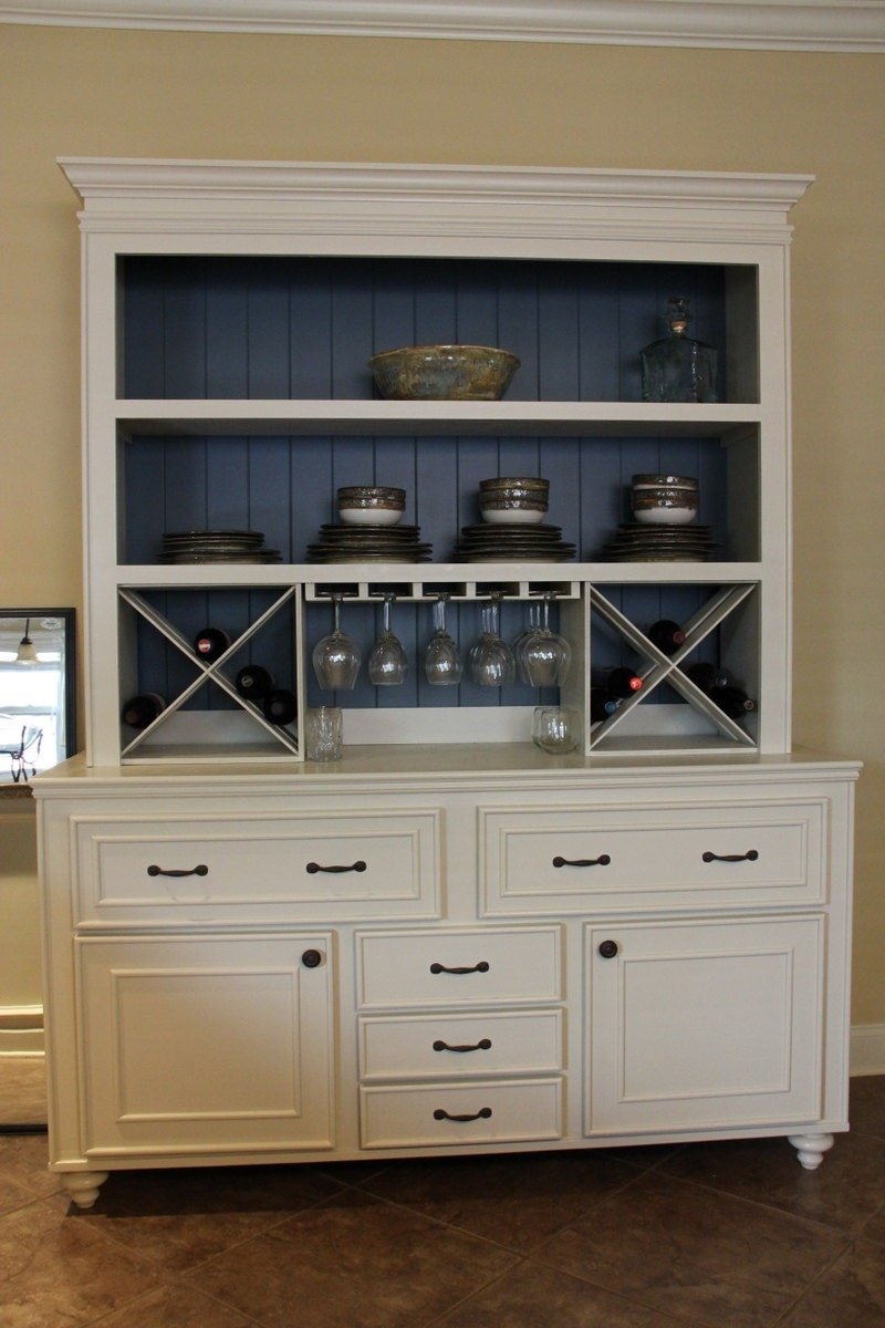 Custom built buffet w hutch wine rack china cabinet - Custom made cabinet ...