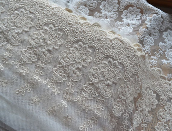 Cotton Lace Trim Ecru Rose Embroidered Bridal Lace Super Wide for Home Decor Costume Wedding Supplies Altered Couture