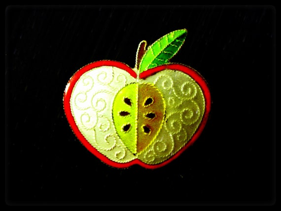 RESERVED for 9433elizabeth The Apple Of My Eye (vintage sterling silver enameled apple brooch colored in red, white, yellow, green)