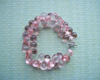 Glass Teardrops - Chunky Beaded Bracelet in Pink