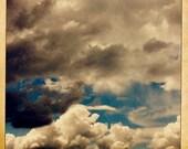 Retro Clouds - 4x4 - Fine Art Hipstamatic Photograph - Nature, Sky, Dreamy, Blue, Faded