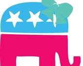 5in Cute Republican Elephant Car Decal