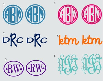 3 inch Vinyl Monogram 2 Decals Hunter Rainboot Stickers