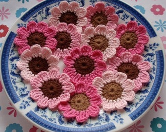 12 Crochet Flowers In Lt Pink, Pink , Bubble gum Pink, Lt Brown, Brown YH-019-02
