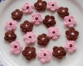 20 Mini Crochet  Flowers In Pink, Brown YH-222-01