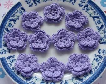 10 Crochet Flowers In Lavender YH-030-06