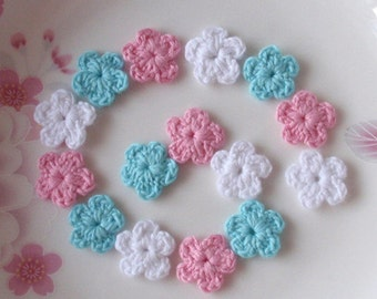 15 Mini Crochet  Flowers In White,Pink, Aqua YH-0-55-02