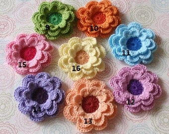 8 Crochet Flowers  In Multicolors YH-098-03