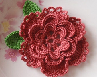 Crochet Flower With Leaves In 3-14 inches YH-099