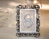 Vintage Victorian Wedding Table Number Signs in Frames 1-15