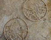Loop de Hoop, 14k gold filled wire loops inside hoops, Unique Earrings, Statement Earrings AD1323X