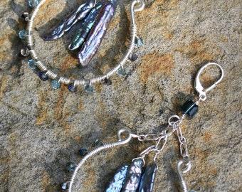 RockStar Earrings, Sterling Silver Swarovski crystal and Freshwater pearl earrings, Stocking Stuffer, Hostess Gift, Boss's Gift AD1348X