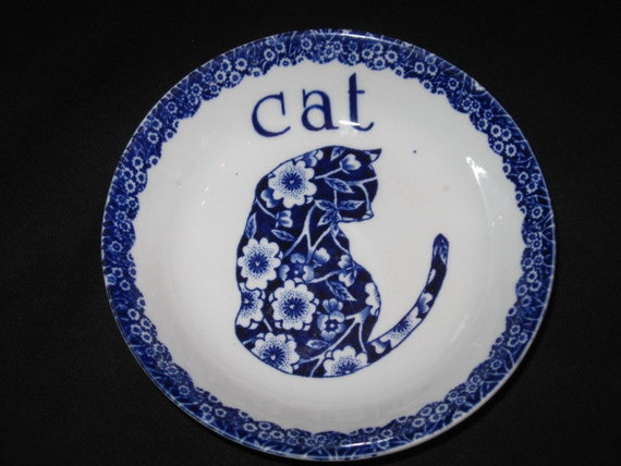 Blue Calico Cat Dish