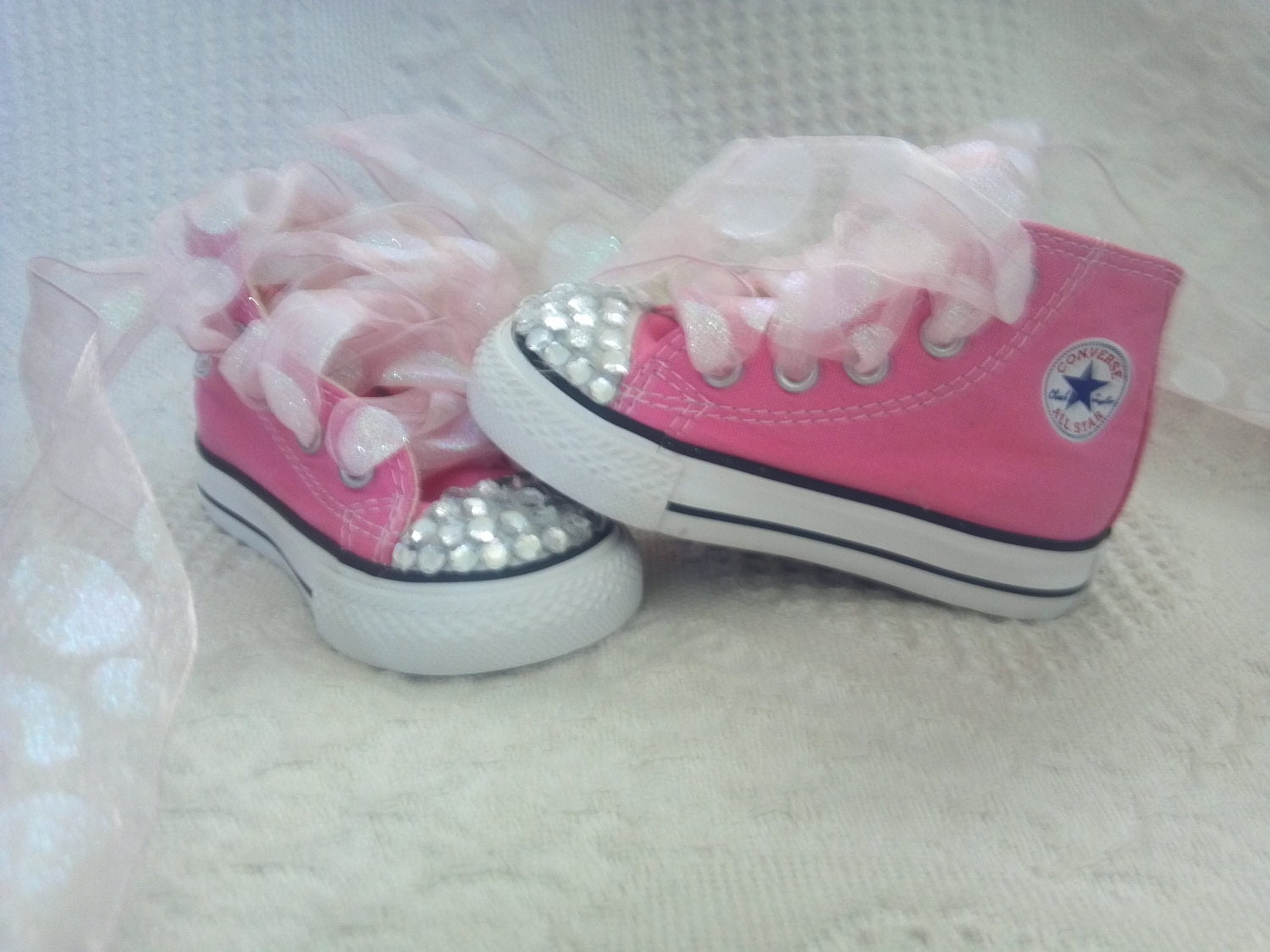 INFANT TODDLER SIZE 4C pink converse girls shoes with bling