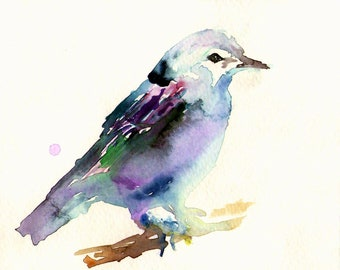 Print of Original Watercolor Painting, Titled: Beauteous Bird by Jessica Buhman Blue Purple Pink Green