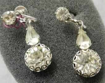 Vintage Earrings Rhinestone Screw Backs