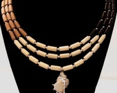 Wood Beads Necklace 19''  3 Strands with pendant shell