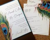 Custom Listing for SUSAN - Peacock Feather WEDDING INVITATION