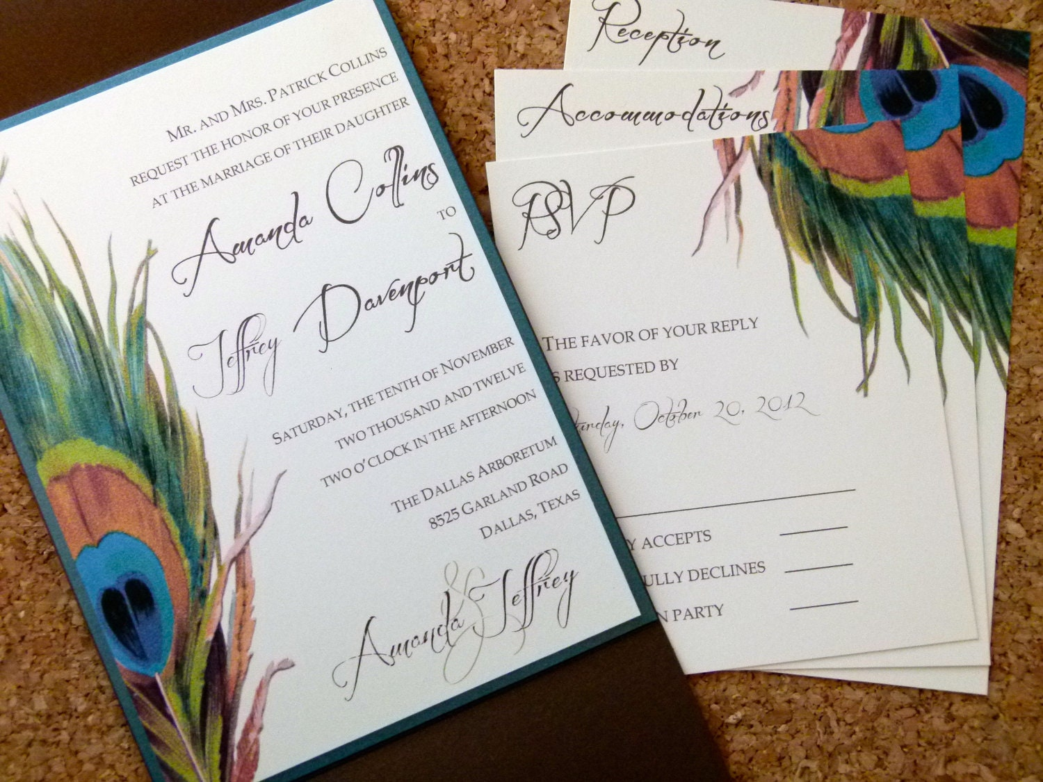 Peacock Feather Wedding Invitation: Items Similar To Peacock Feather WEDDING INVITATION