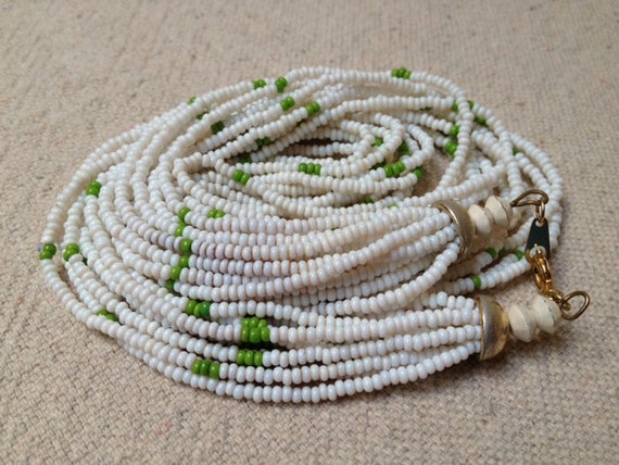 CLEARANCE Vintage White and Green Beaded Necklace, Glass Beads, Multi-Strand Necklace